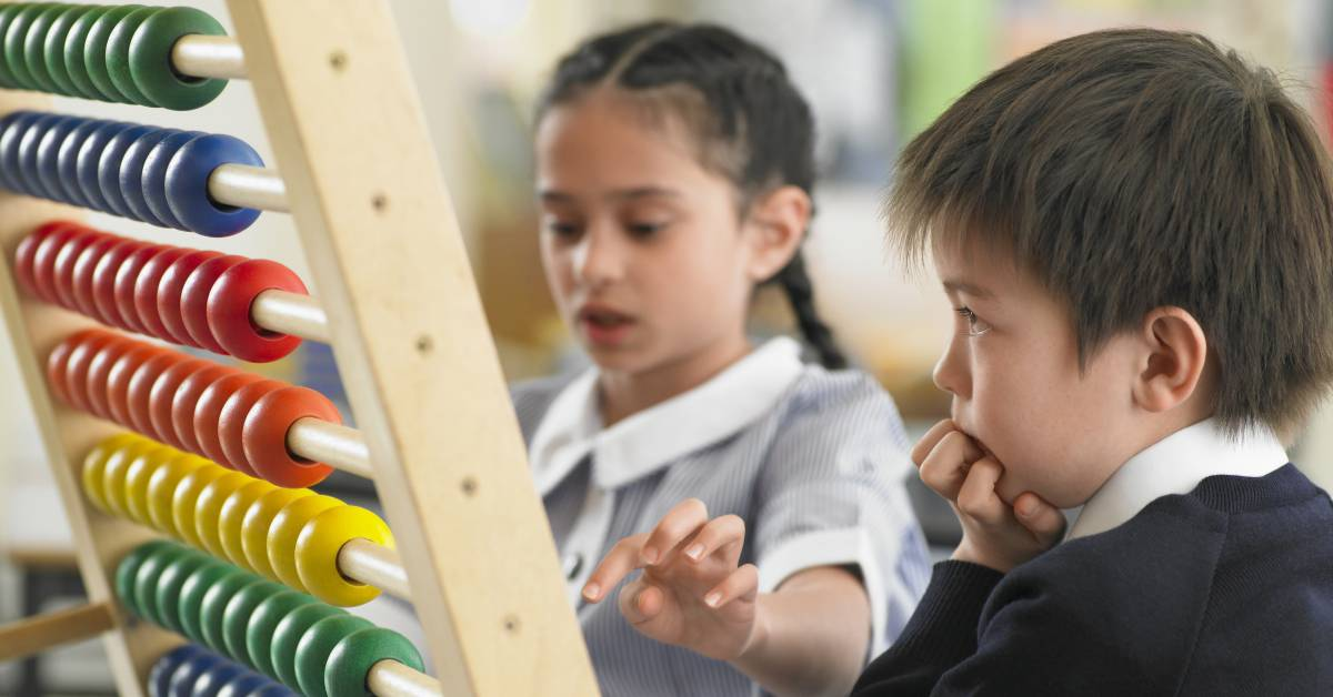 Kid With Abacus Image